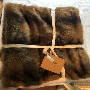 NWT World Market Mink Faux Fur Throw